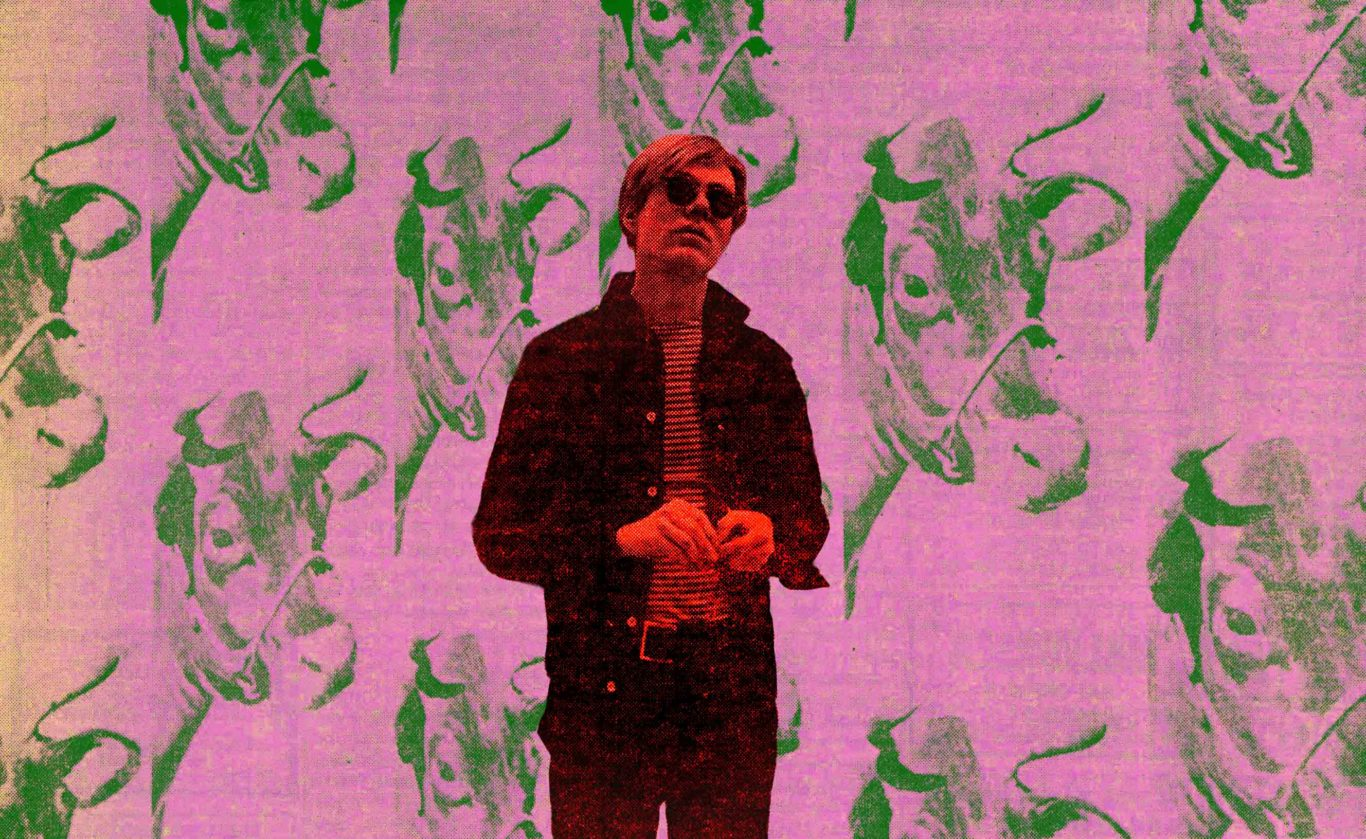 Andy Warhol in front of Cow Wallpaper in Vivian Gornick article